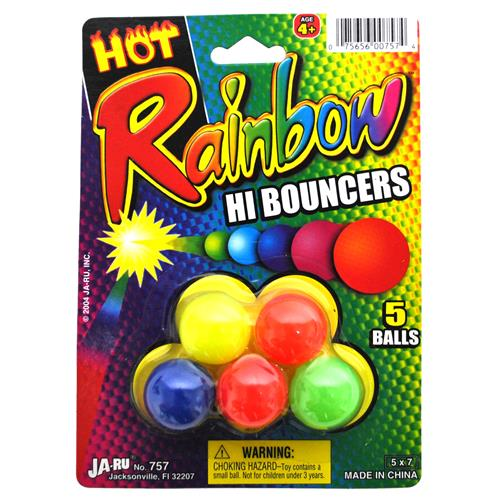 Wholesale Rainbow Hi Bouncers Rubber Balls