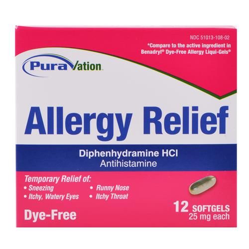 Wholesale Puravation Allergy Relief 25mg (Benadryl Dye Free)