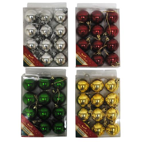 Wholesale Christmas Shiny Ball Ornaments 40MM Plastic In PVC Box 4 Asst
