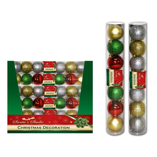 Wholesale Christmas Ball Ornaments 60MM Assorted Styles In PVC Tube Assorted Display