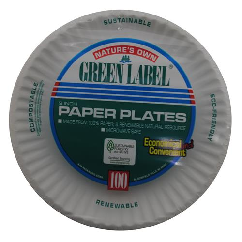 Wholesale Green Label White Paper Plate 9""