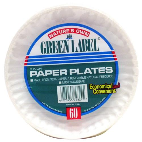 Wholesale Green Label White Paper Plate 6""