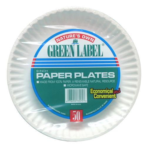 Wholesale Green Label White Paper Plate 9""""""""