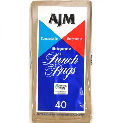Wholesale AJM Brown Paper Lunch Bags - 40 ct.