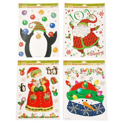 Wholesale CMAS GLITTR WINDW CLING-SANTA & PENGUINS 4 ASST