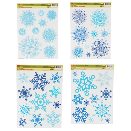 Wholesale CMAS GLITTR WINDW CLING-BLUE SNOWFLAKES 4 ASST