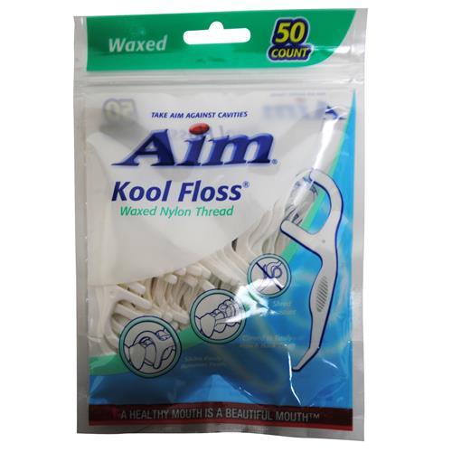 Wholesale Aim 50 ct Waxed Flosser Picks Nylon Thread