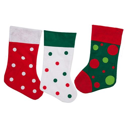 "Wholesale Felt Stocking 18"""" 3 Assorted Polka Dot/Color"