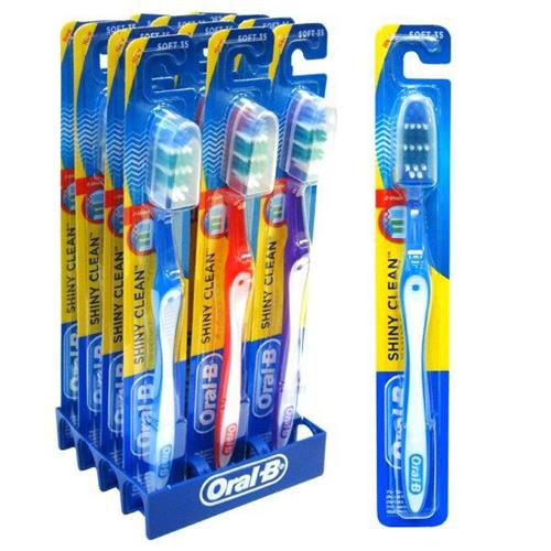 Wholesale Oral B Shiny Clean Toothbrush - assorted colors in handy shelf display