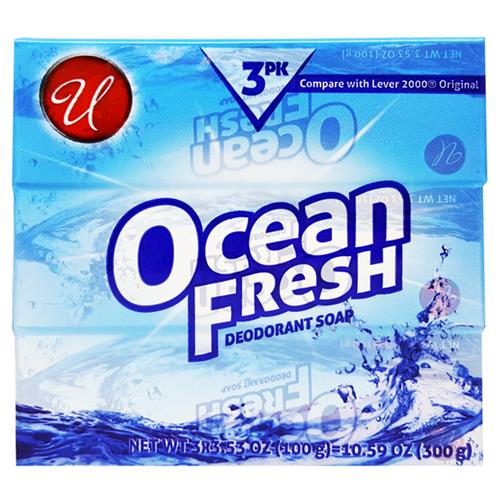 Wholesale U Ocean Fresh Bar Soap in 3pk  3.5oz each bar (100gr)