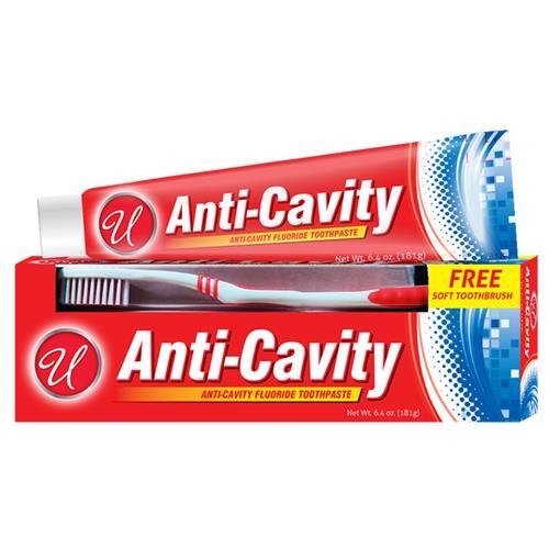 Wholesale 6.4 oz Anti Cavity Toothpaste w/ free soft toothbrush.