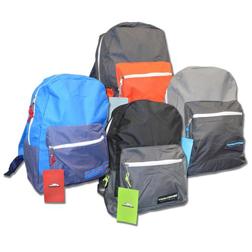 """Wholesale Backpack 17"""" x 12"""" x 5.5"""" 2 Tone 4 Assorted Colors"""