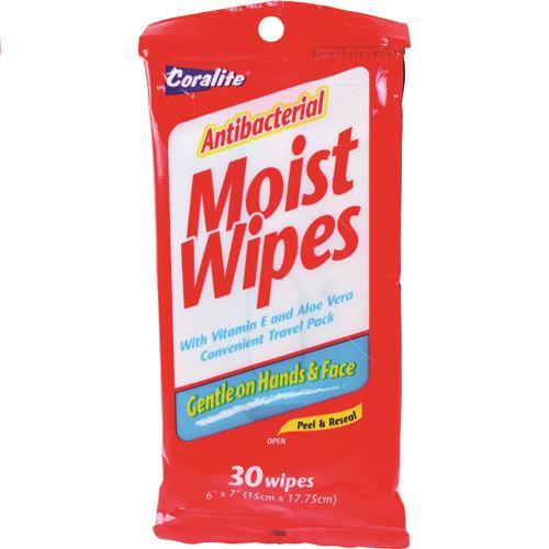 Wholesale Coralite Antibacterial Peel & Seal Moist Wipes 30ct (Wet Wipes)