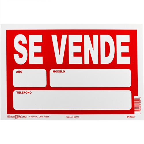 "Wholesale 8""x12"" SE VENDE PLASTIC SIGN"