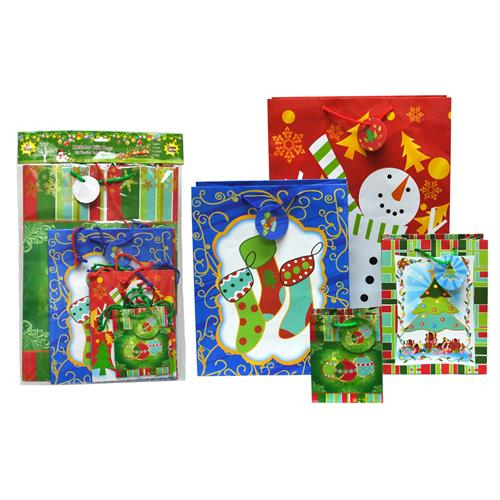 Wholesale Christmas Assorted Gift Bag Value Pack 10 Pack