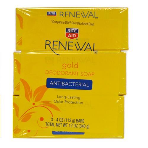 Wholesale 3 pack Rite-Aid Renewal Gold Deodorant Soap (Dial)