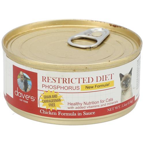 Wholesale 5.5OZ CAT FOOD TIN DAVES RESTRICTED DIET PHOSPORUS CHICKEN