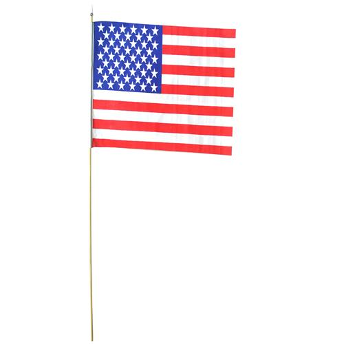 "Wholesale U.S. Flag. 8"" x 12"" Cotton Wood Staff. made in US."