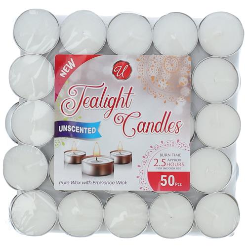 Wholesale 50ct Tealight Candles White Unscented