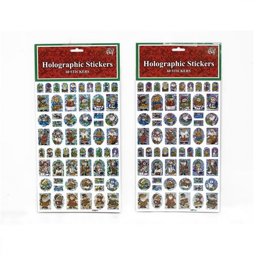 Wholesale Holographic Christmas Stickers 60 Count Assorted ...