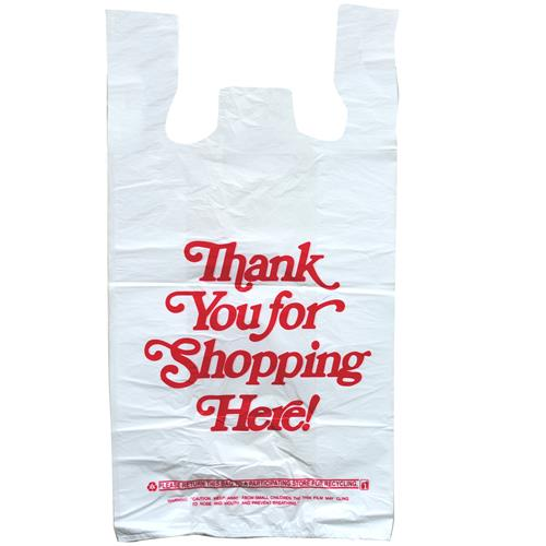 Wholesale Thankyou t-Shirt Shopping Bag 1/6 - 18MIC Thick 11.5x6.5x22.5""