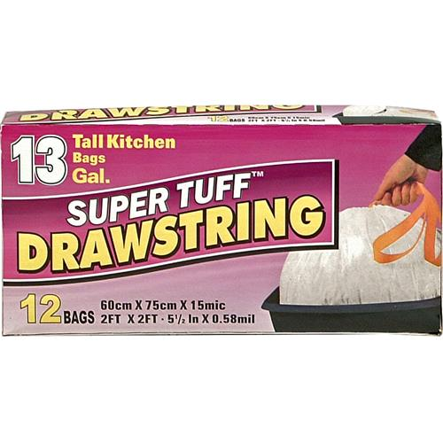 Wholesale Super Tuff Drawstring Tall Kitchen Bag 13 Gallon