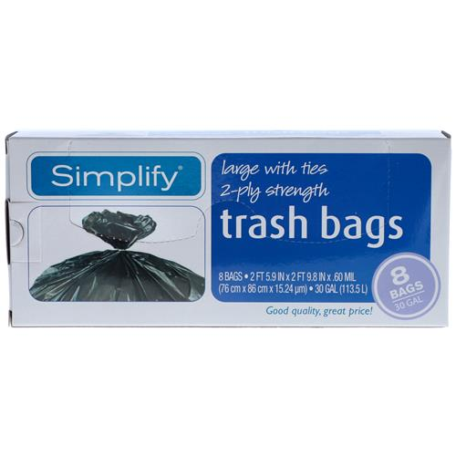 Wholesale SIMPLIFY TRASH BAGS 8CT