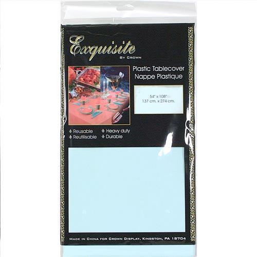 "Wholesale Light Blue Plastic Tablecover 54""x108"""