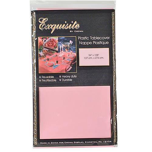 """Wholesale Pink Plastic Tablecover 54"""" x 108"""""""