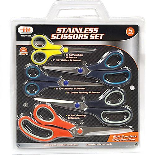 Wholesale 5PC Comfort Grip Scissors