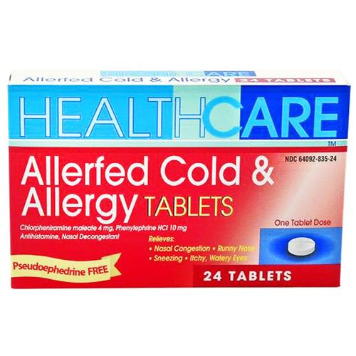 Wholesale Health Care Allerfed Cold and Allergy Tablet PE Formula