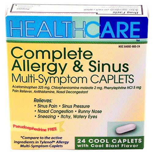 Wholesale Health Care APAP Allergy / Sinus Caplets PE Formula