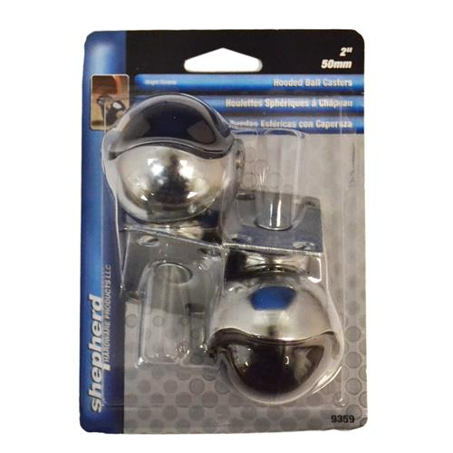 "Wholesale 2PK 2"" HOODED BALL CASTERS CHROME PLATED"