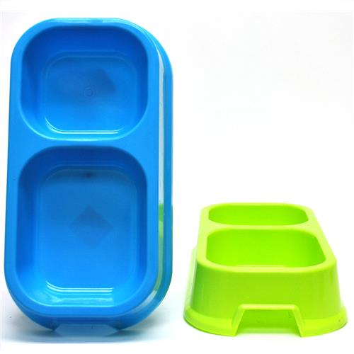 "Wholesale Large Pet Bowl Double Diner 12""x6"" Assorted Colors"