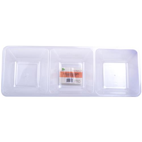 "Wholesale 3 Compartment Dip & Chip 16x6x1.7"""" Clear Styrene"