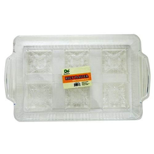 "Wholesale Rectangular Platter 13.8"" x 10.6"" x 1.3"" Clear Styrene"
