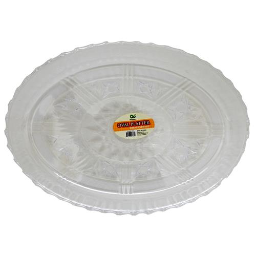 "Wholesale Oval Platter 13.2"""" x 9.6"""" x 1.5"""" Clear Styrene"