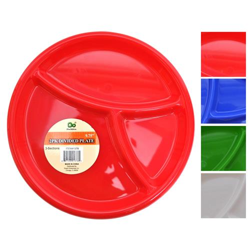 "Wholesale Plastic 3 Section Divided Plate 9.75"""""""" Assorted Co"