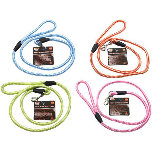 """Wholesale 48"""" COLORED ROPE DOG LEASH MED"""