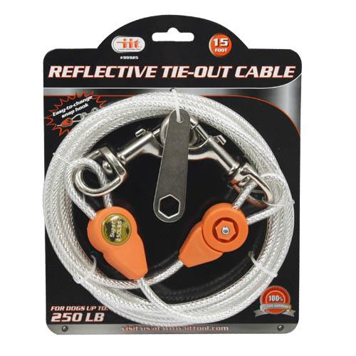 Wholesale 15' Reflective pet tie out cable for dogs up to 250 pounds.