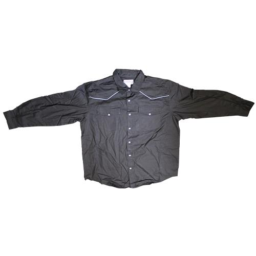 Wholesale LONG SLEEVE BLACK WESTERN SHIRT W/PIPING L-3X
