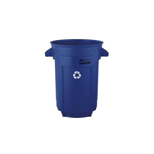 Wholesale 32 GAL COMMERCIAL TRASH CAN BLUE WITH RECYCLE LOGO