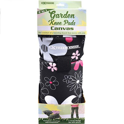 Wholesale BLACK FLORAL CANVAS KNEE PADS