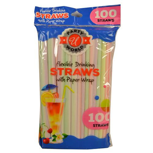 Wholesale 100ct NEON STRAW WRAPPED IN PAPER IN BAG