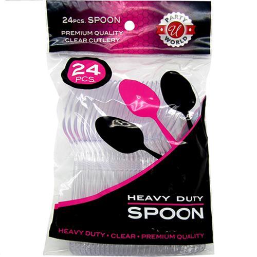 Wholesale 24ct Clear Spoon Premium Heavy Duty Cutlery