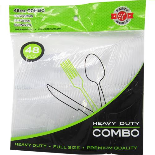 Wholesale 48 ct Clear Combo Heavy Duty Cutlery