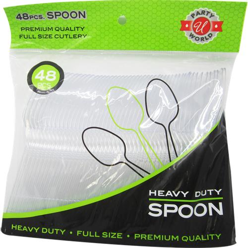Wholesale 48ct Clear Spoon Heavy Duty Cutlery