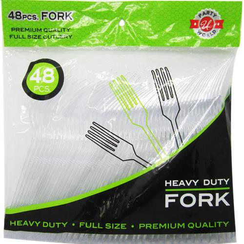 Wholesale 48ct Clear Fokr Heavy Duty Cutlery