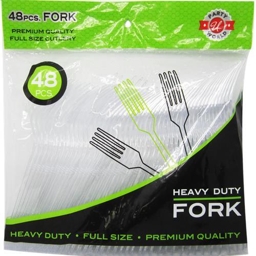 Wholesale 48ct Clear Fokr Heavy Duty Cutlery