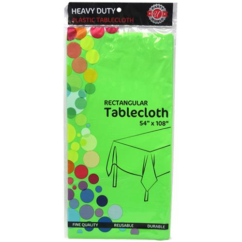 "Wholesale Lime Green Plastic Tablecover 54"" x 108"""